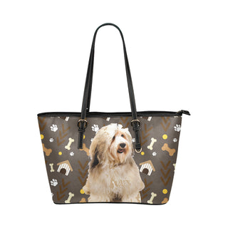 Havanese Dog Leather Tote Bag/Small (Model 1651) - TeeAmazing