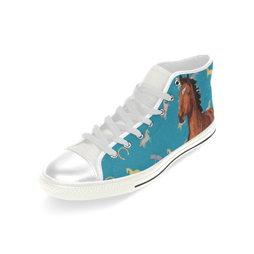 Horse White Men's Classic High Top Canvas Shoes - TeeAmazing