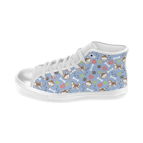 Alaskan Malamute Pattern White Women's Classic High Top Canvas Shoes - TeeAmazing