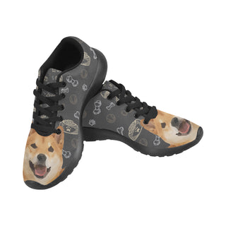 Shiba Inu Dog Black Sneakers Size 13-15 for Men - TeeAmazing