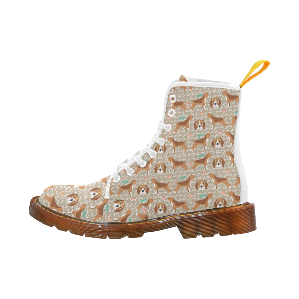 Beagle Pattern White Boots For Women - TeeAmazing