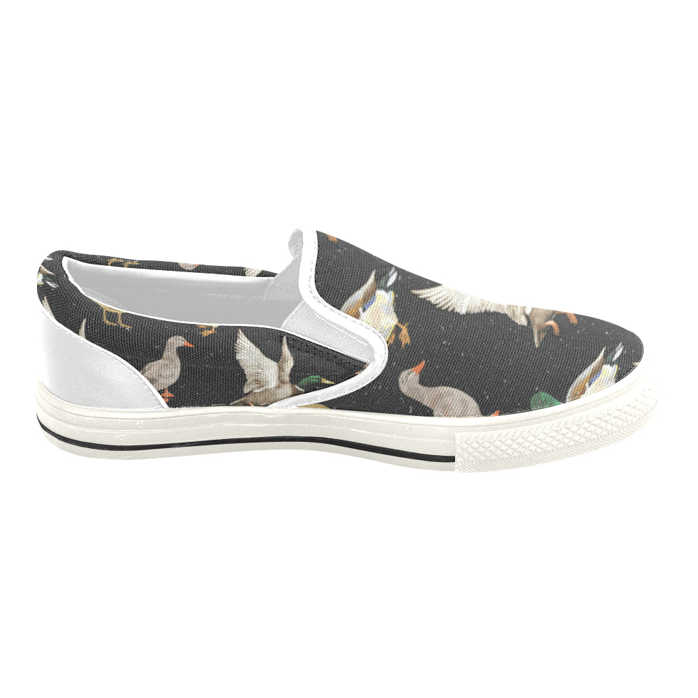 Mallard Duck White Women's Slip-on Canvas Shoes/Large Size (Model 019) - TeeAmazing