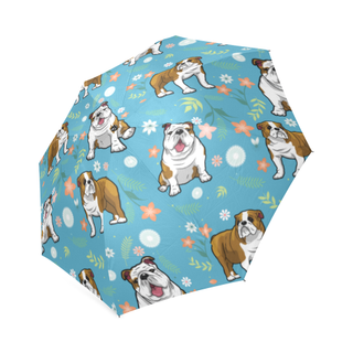 English Bulldog Flower Foldable Umbrella - TeeAmazing