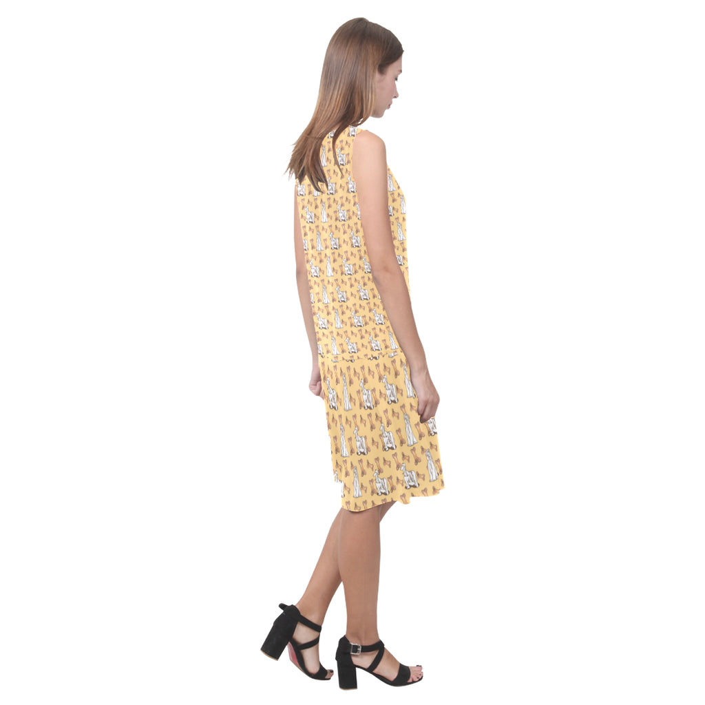 Afghan Hound Pattern Sleeveless Splicing Shift Dress - TeeAmazing