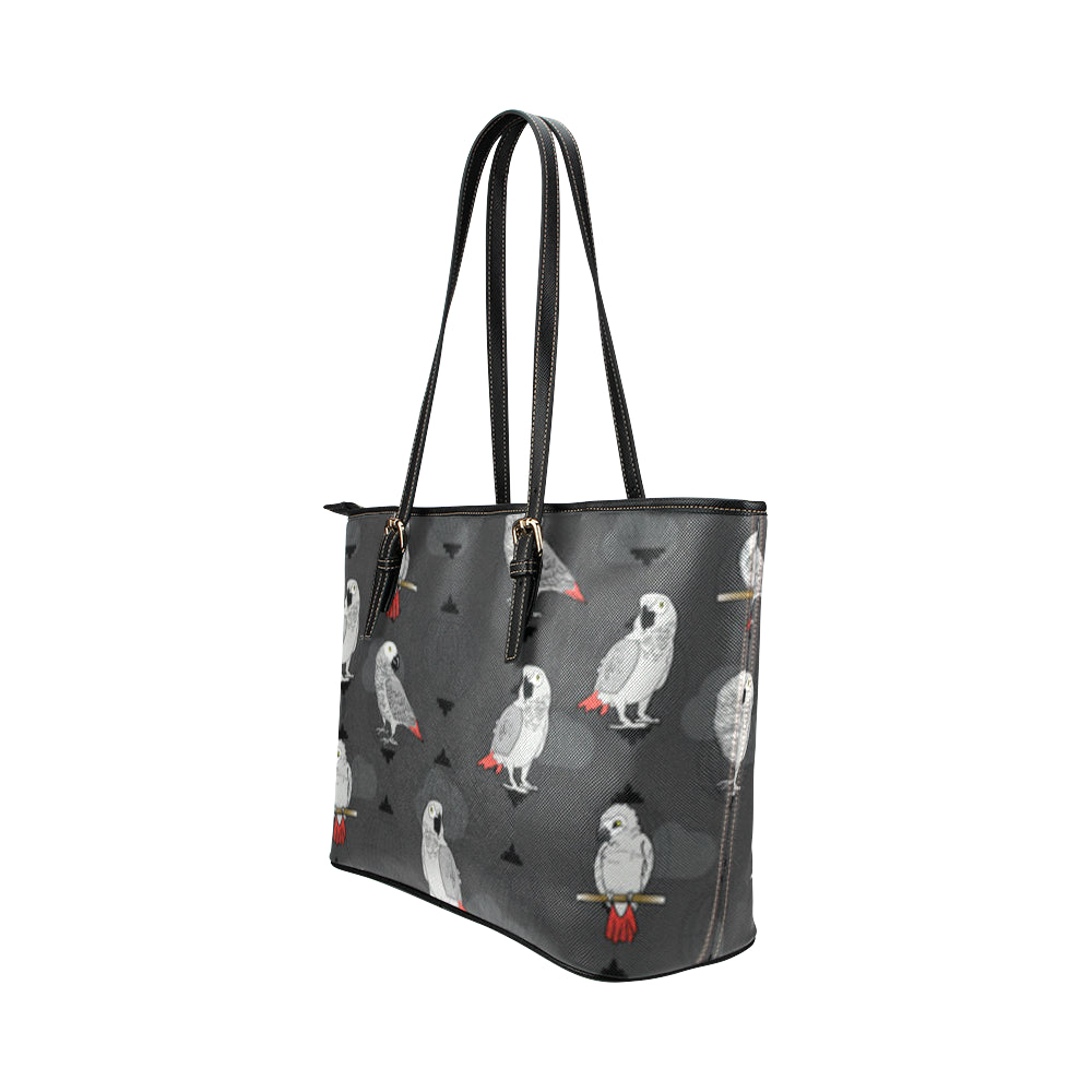 African Greys Leather Tote Bag/Small - TeeAmazing
