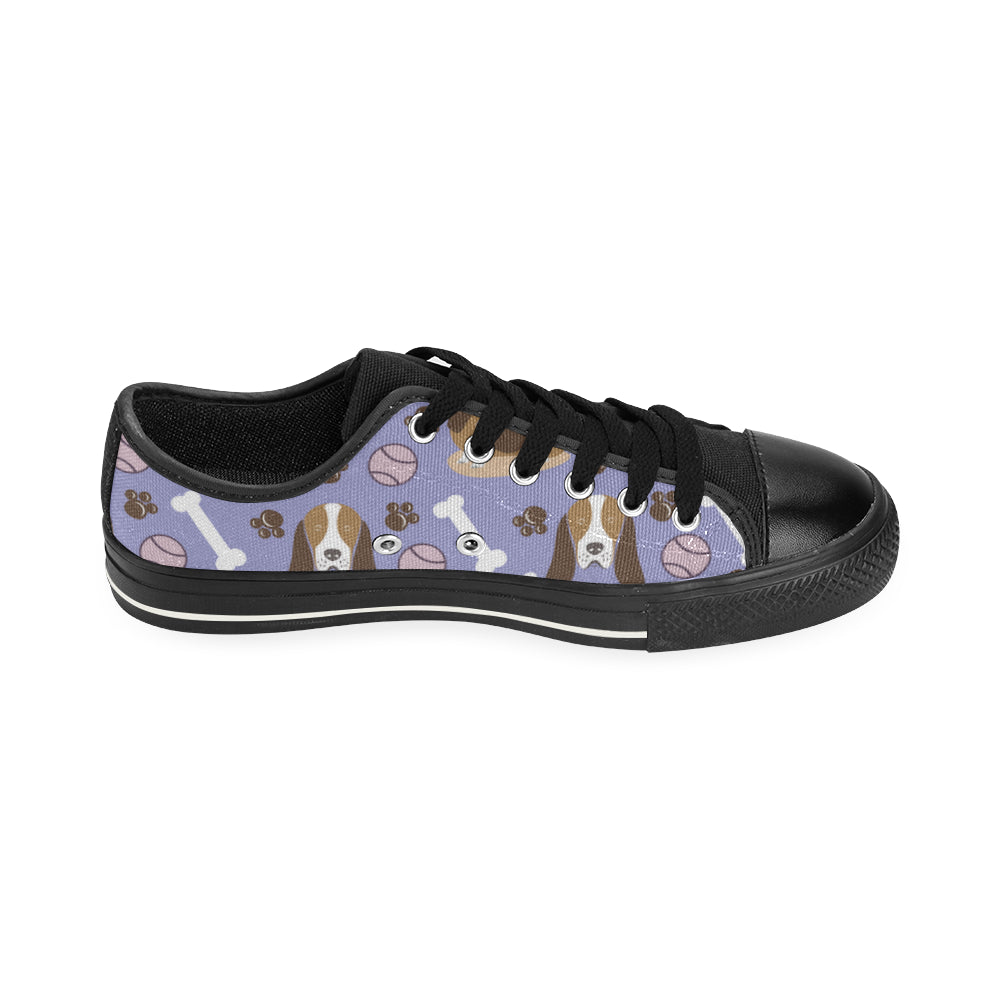 Basset Hound Pattern Black Low Top Canvas Shoes for Kid - TeeAmazing