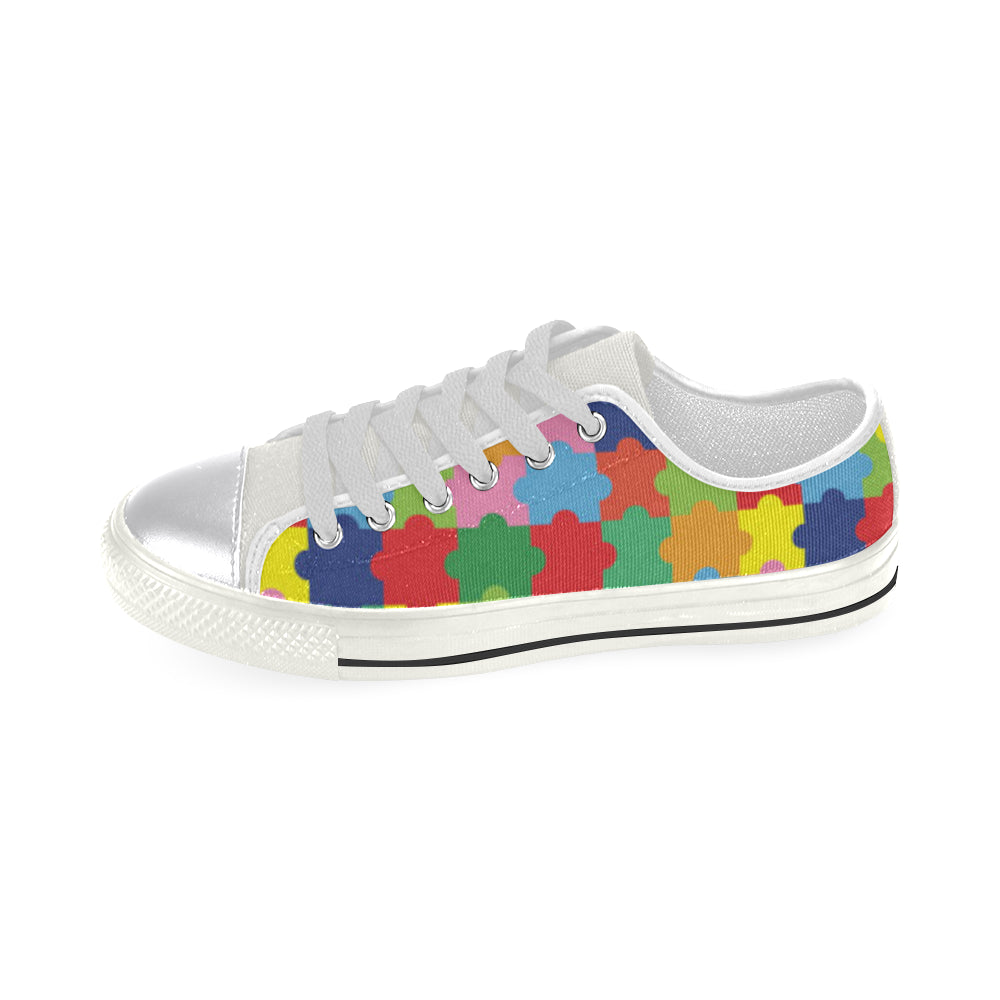Autism White Canvas Women's Shoes/Large Size - TeeAmazing