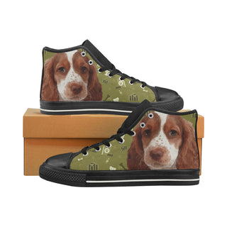 Sprocker Dog Black High Top Canvas Women's Shoes/Large Size (Model 017) - TeeAmazing