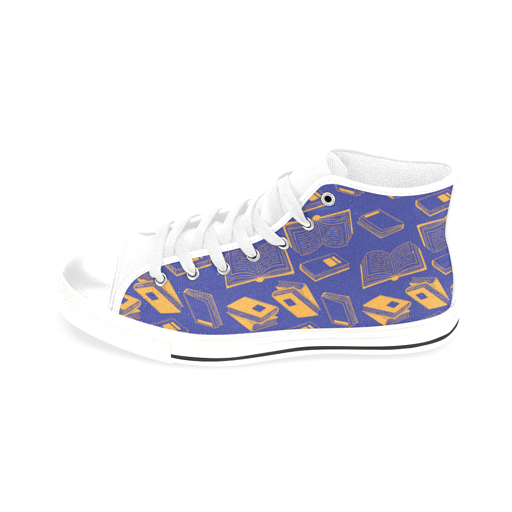 Book Pattern White Men's Classic High Top Canvas Shoes /Large Size - TeeAmazing
