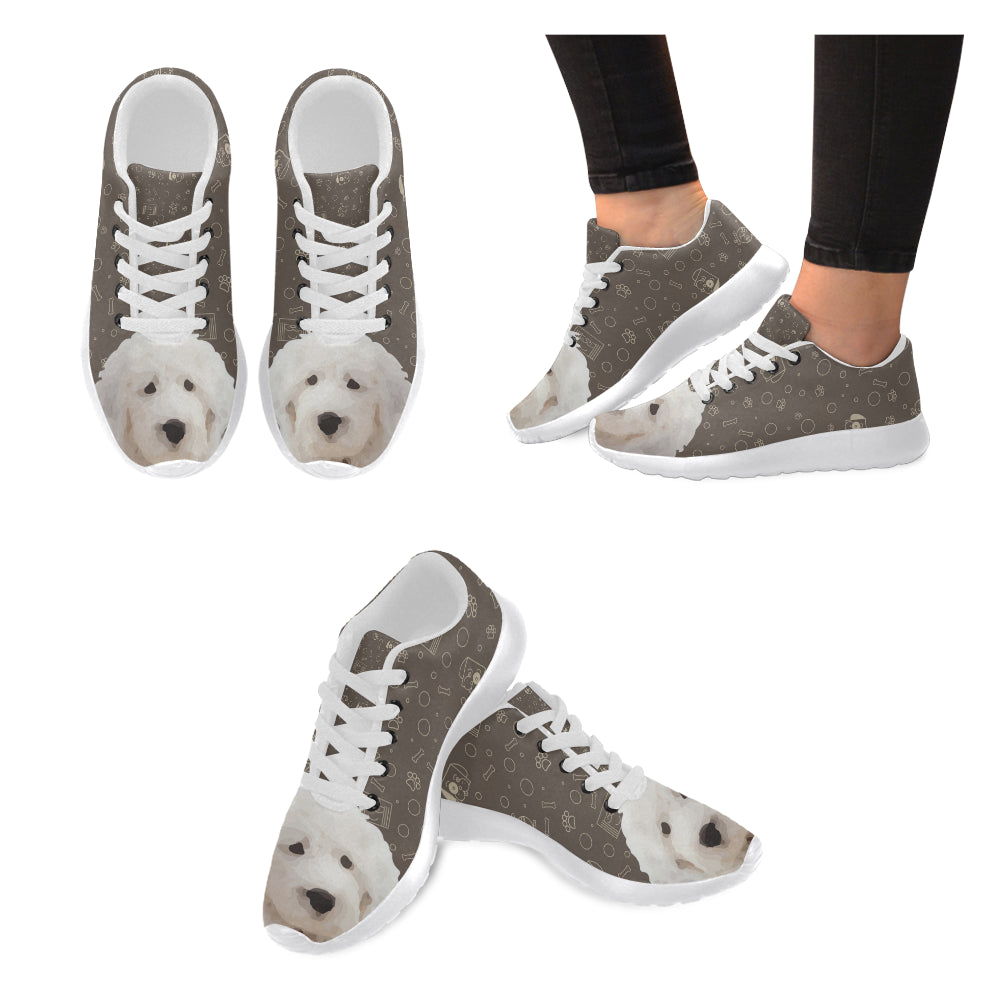 Old English Sheepdog Dog White Sneakers Size 13-15 for Men - TeeAmazing