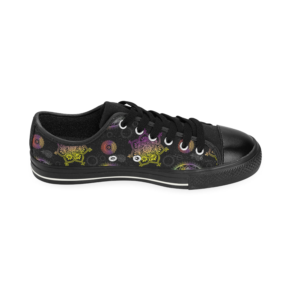 Lotus and Mandalas Black Men's Classic Canvas Shoes - TeeAmazing