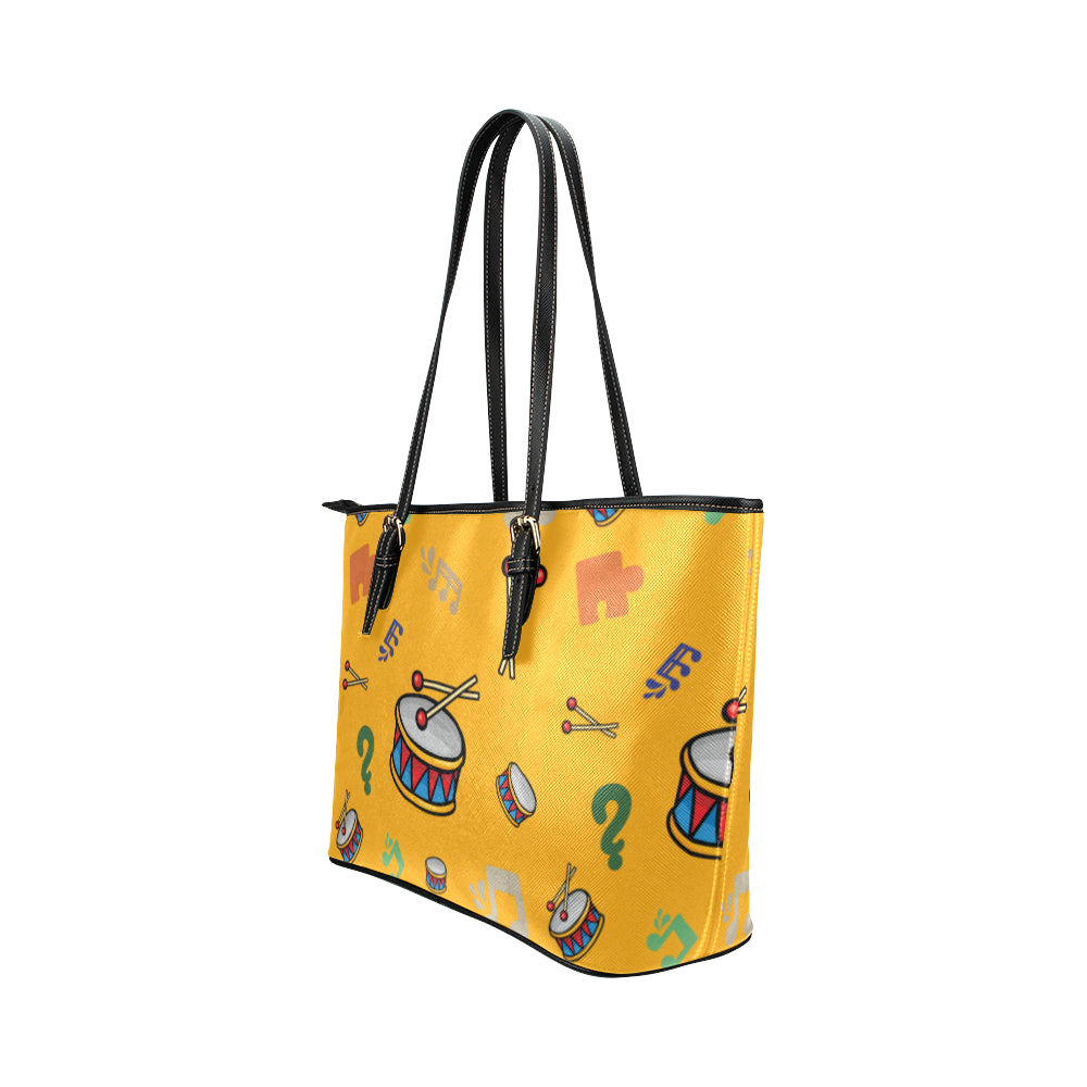 Bass Drum Pattern Leather Tote Bag/Small - TeeAmazing