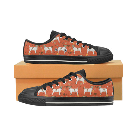Jack Russell Terrier Water Colour Pattern No.1 Black Women's Classic Canvas Shoes - TeeAmazing