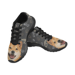 Shiba Inu Dog Black Sneakers for Women - TeeAmazing