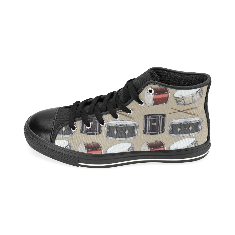 Drum Pattern Black High Top Canvas Shoes for Kid - TeeAmazing