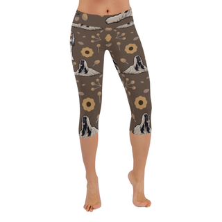 Afghan Hound Flower Low Rise Capri Leggings (Invisible Stitch) (Model L08) - TeeAmazing