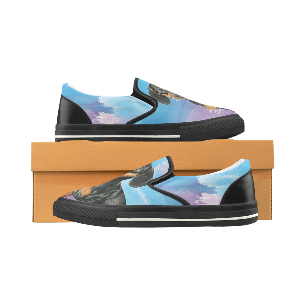 Dachshund Water Colour No.1 Black Women's Slip-on Canvas Shoes/Large Size (Model 019) - TeeAmazing