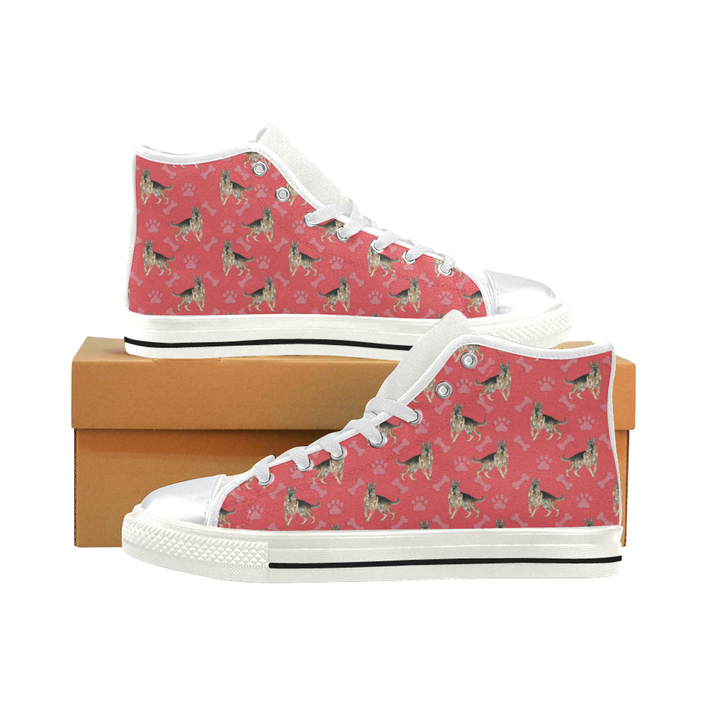 German Shepherd Water Colour Pattern No.1 White High Top Canvas Shoes for Kid - TeeAmazing