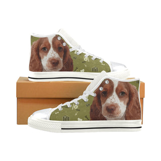 Sprocker Dog White High Top Canvas Women's Shoes/Large Size (Model 017) - TeeAmazing