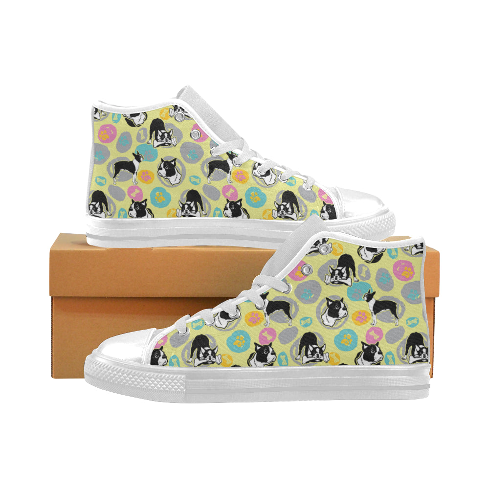 Boston Terrier Pattern White Men's Classic High Top Canvas Shoes - TeeAmazing