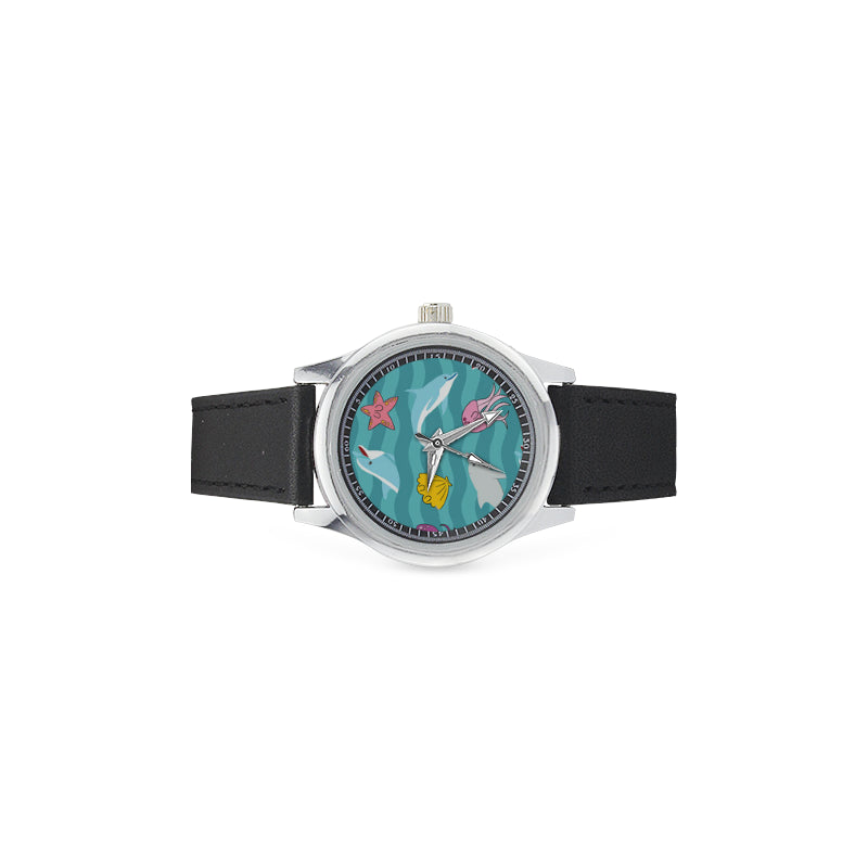 Dolphin Kid's Stainless Steel Leather Strap Watch - TeeAmazing