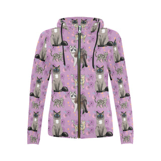 Balinese Cat All Over Print Full Zip Hoodie for Women - TeeAmazing