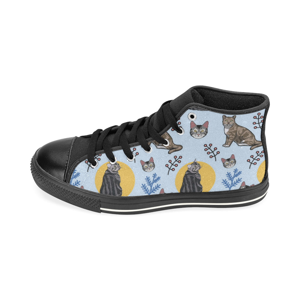 American Shorthair Black High Top Canvas Shoes for Kid - TeeAmazing