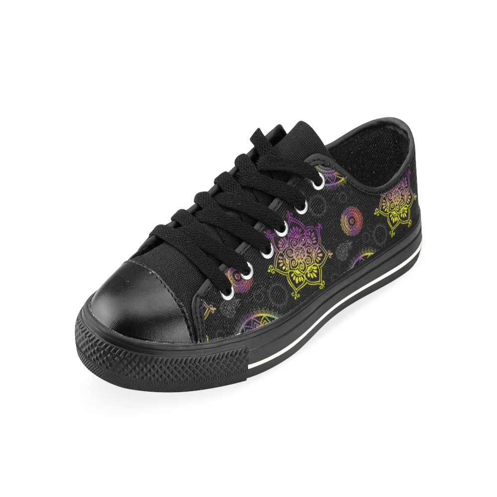 Chakra Black Low Top Canvas Shoes for Kid - TeeAmazing