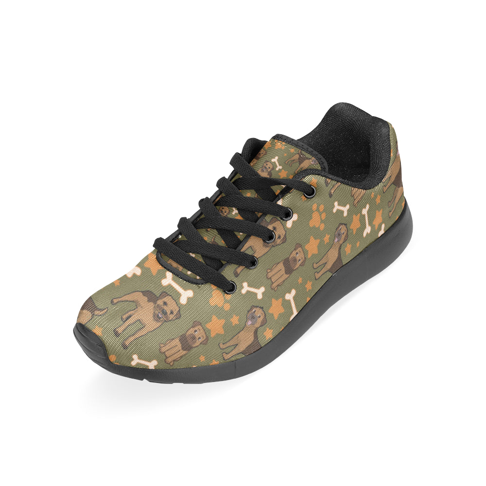 Border Terrier Pattern Black Sneakers for Women - TeeAmazing