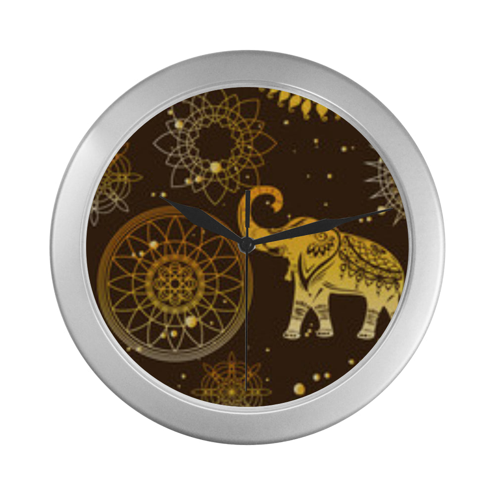 Elephant and Mandalas Silver Color Wall Clock - TeeAmazing