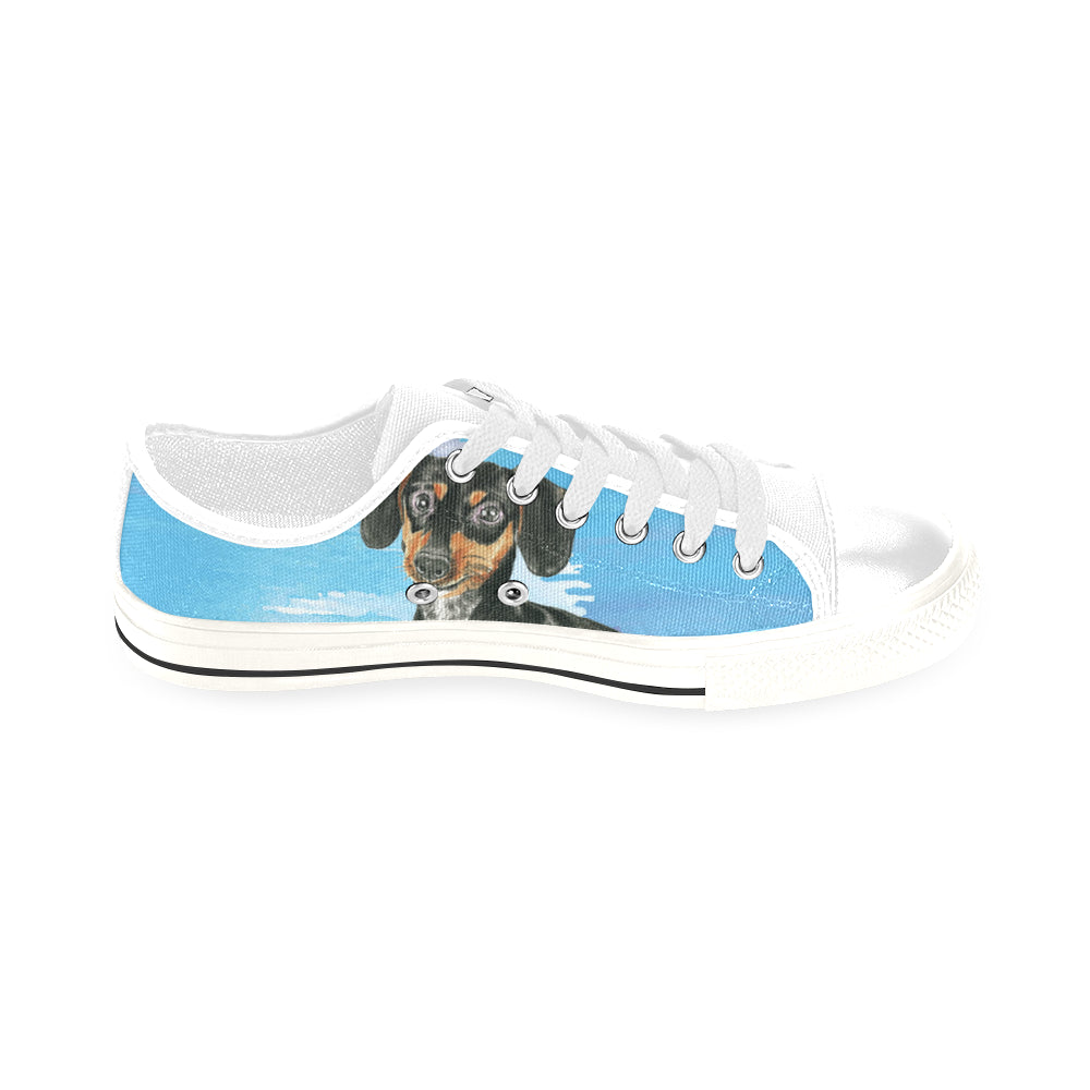 Dachshund Water Colour No.1 White Men's Classic Canvas Shoes/Large Size - TeeAmazing