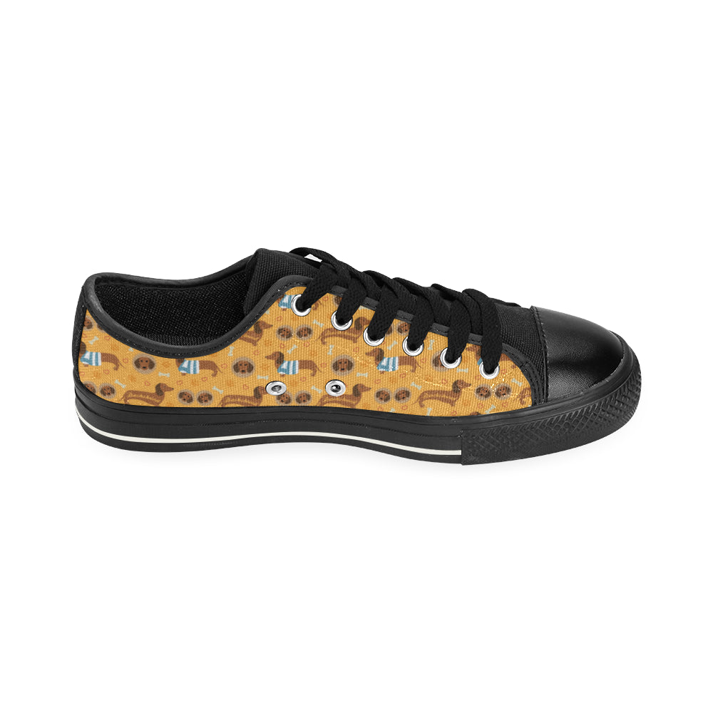 Dachshund Pattern Black Low Top Canvas Shoes for Kid - TeeAmazing