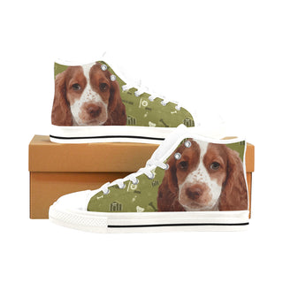 Sprocker Dog White Men's Classic High Top Canvas Shoes /Large Size (Model 017) - TeeAmazing