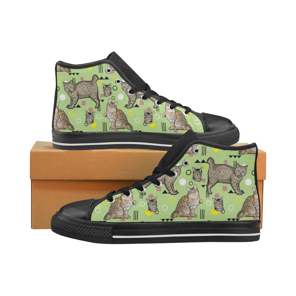 American Bobtail Black Men's Classic High Top Canvas Shoes - TeeAmazing
