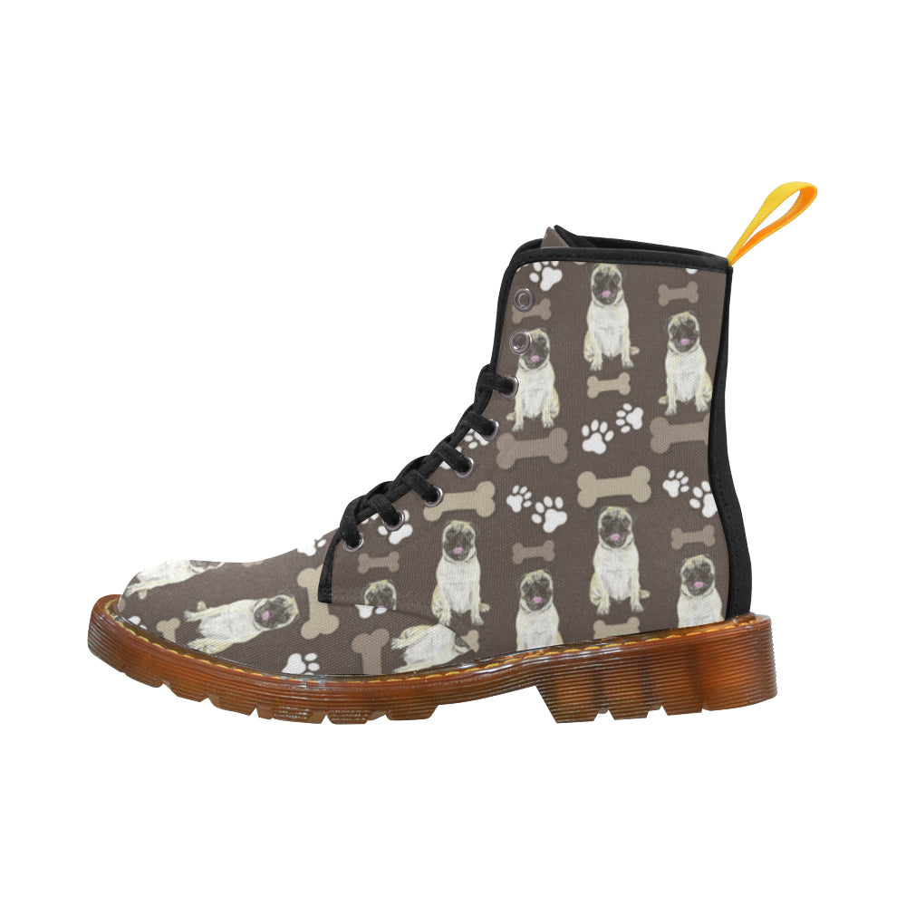 Pug Water Colour Pattern No.1 Black Boots For Women - TeeAmazing