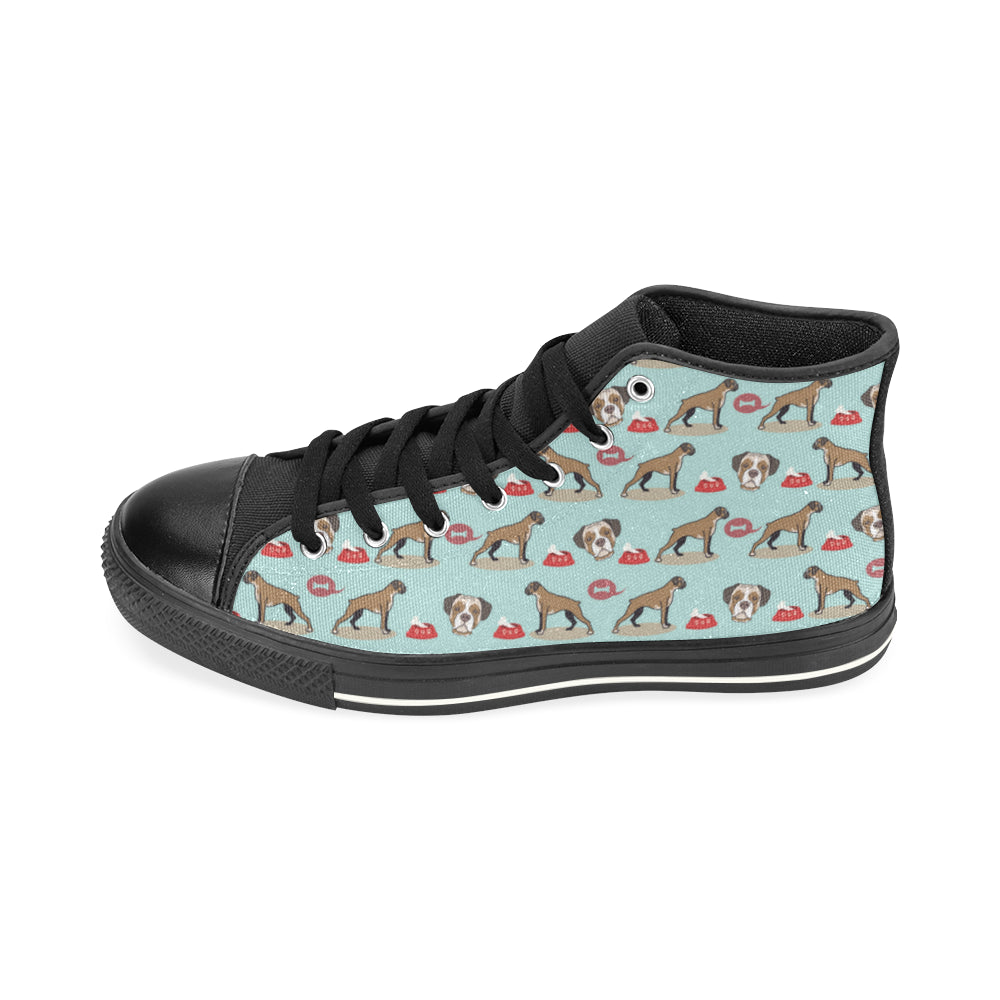 Boxer Pattern Black High Top Canvas Women's Shoes (Large Size) - TeeAmazing