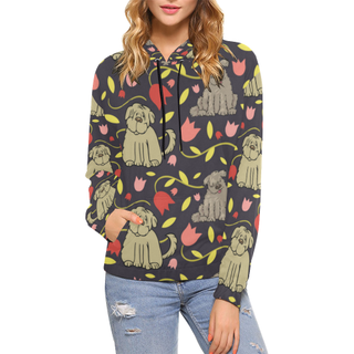 Tibetan Terrier Flower All Over Print Hoodie for Women (USA Size) (Model H13) - TeeAmazing
