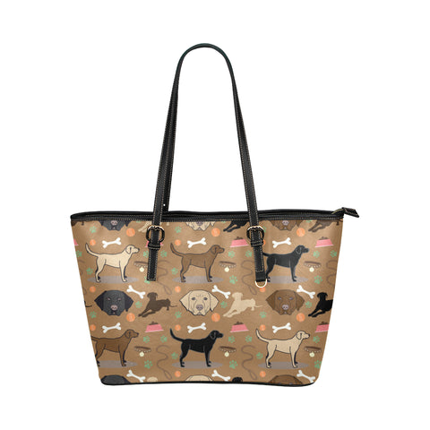 Labrador 3 Colors Leather Tote Bag/Small - TeeAmazing