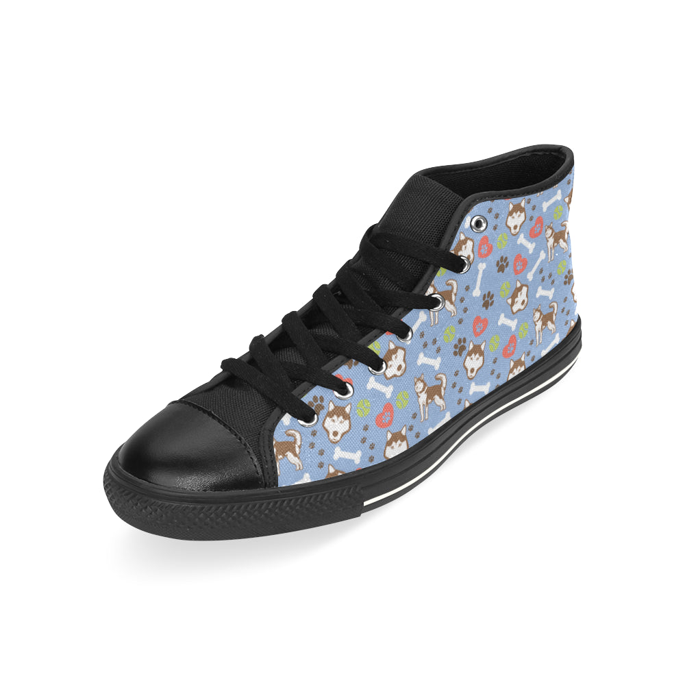 Alaskan Malamute Pattern Black High Top Canvas Shoes for Kid - TeeAmazing