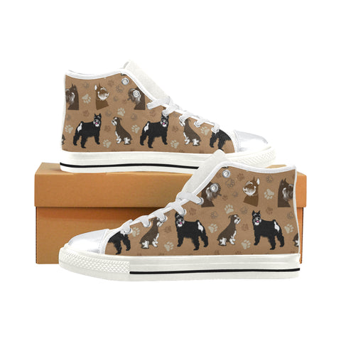 Miniature Schnauzer White High Top Canvas Women's Shoes/Large Size (Model 017) - TeeAmazing