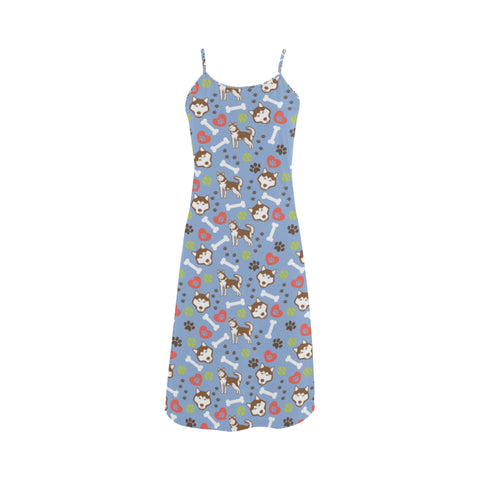 Alaskan Malamute Pattern Alcestis Slip Dress - TeeAmazing