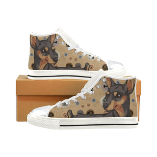 Miniature Pinscher Dog White High Top Canvas Women's Shoes/Large Size - TeeAmazing