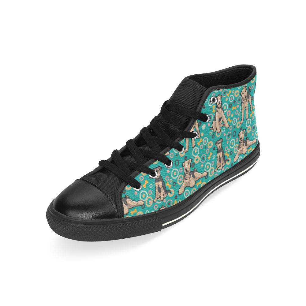 Airedale Terrier Pattern Black High Top Canvas Women's Shoes/Large Size - TeeAmazing