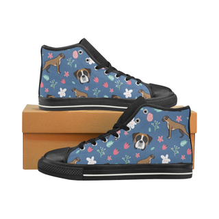Boxer Flower Black High Top Canvas Women's Shoes/Large Size (Model 017) - TeeAmazing