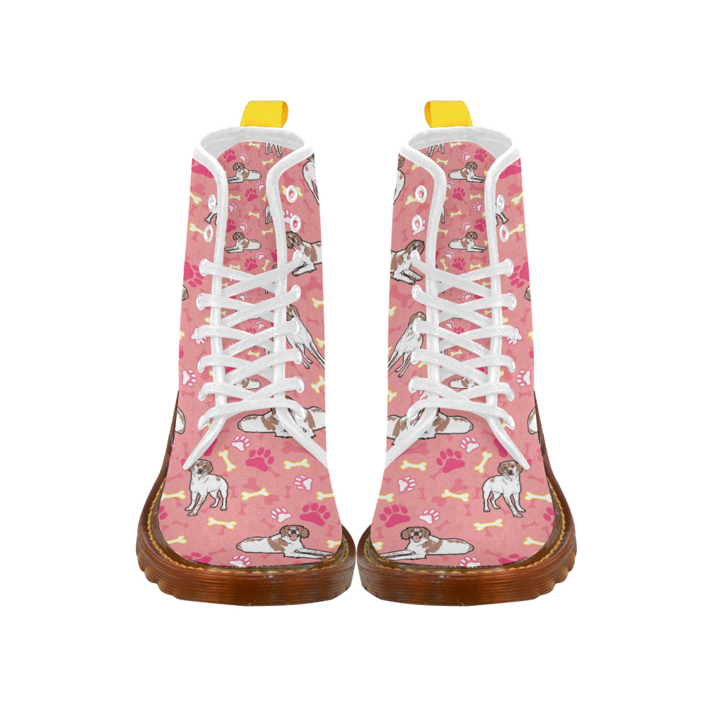 Brittany Spaniel Pattern White Boots For Women - TeeAmazing