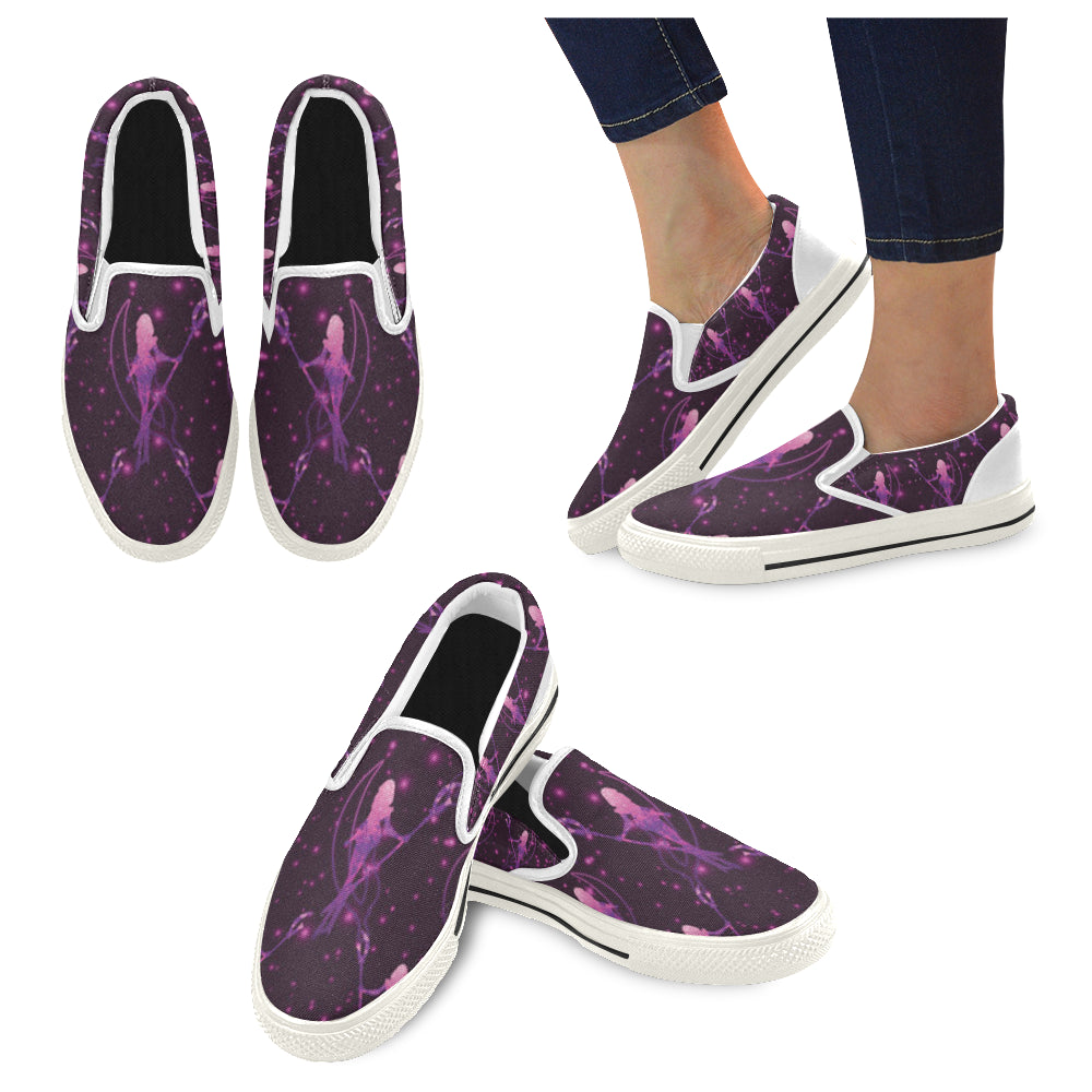 Sailor Saturn White Women's Slip-on Canvas Shoes/Large Size (Model 019) - TeeAmazing