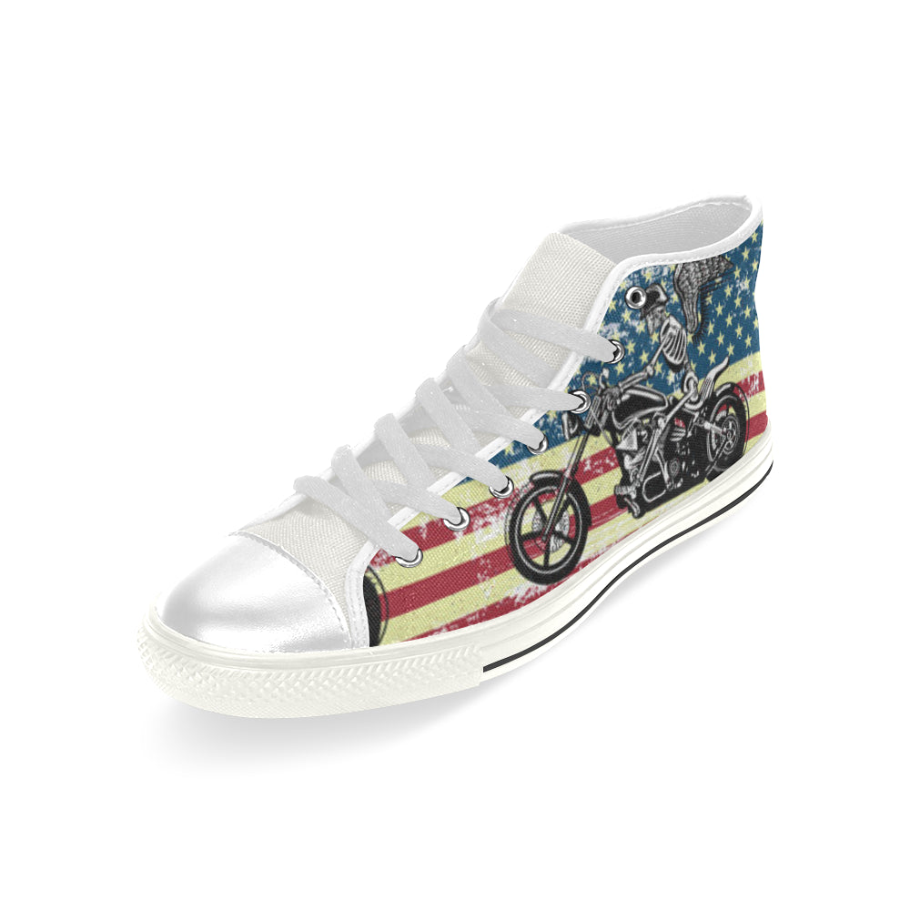 Skeleton Biker White Men's Classic High Top Canvas Shoes - TeeAmazing
