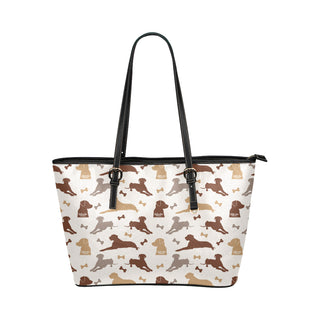 Labrador Retriever Pattern Leather Tote Bag/Small - TeeAmazing