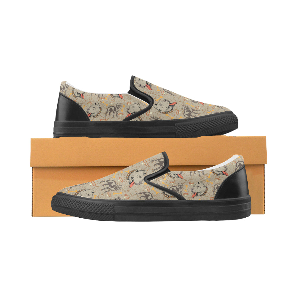 Pitbull Pattern Black Women's Slip-on Canvas Shoes - TeeAmazing