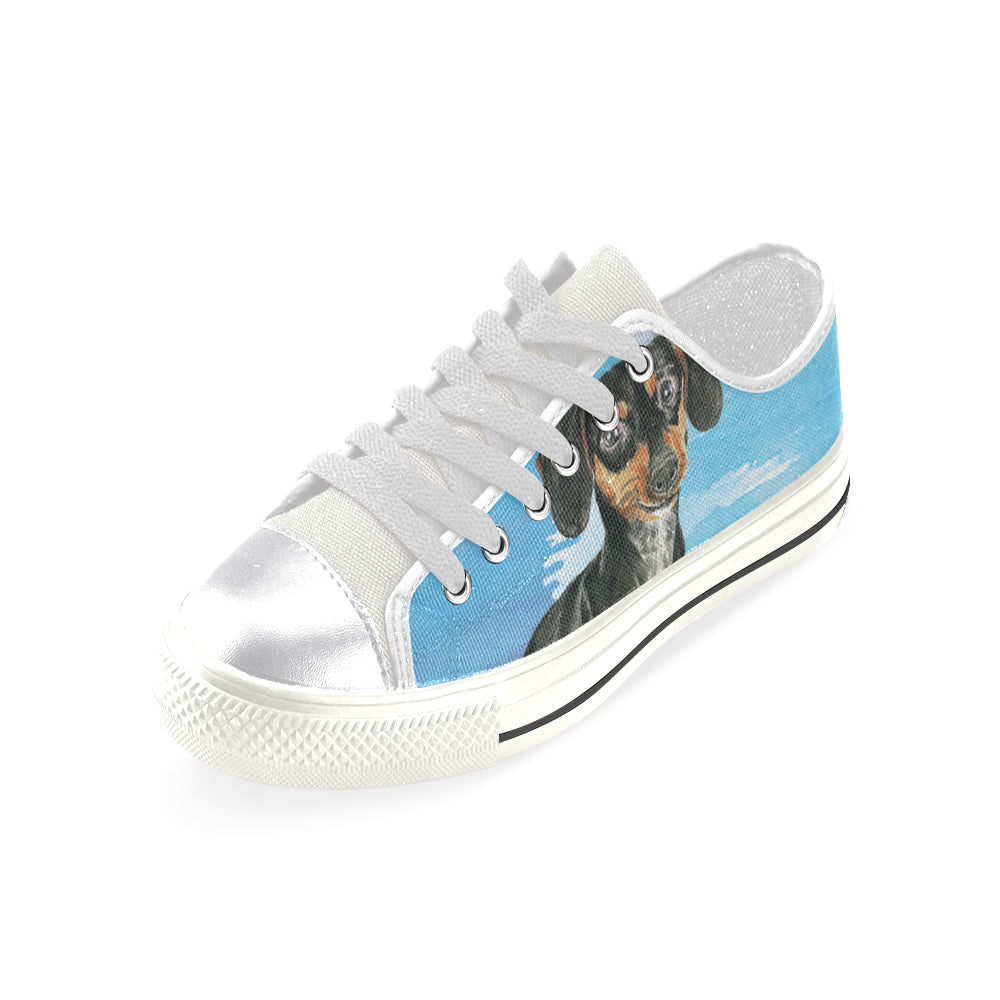 Dachshund Water Colour No.1 White Canvas Women's Shoes/Large Size - TeeAmazing